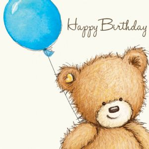 Birthday Bear With Blue Balloon